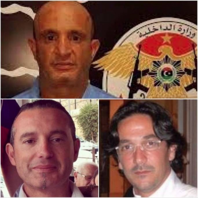 Friends and associates: Libyan smuggling king Fahmi Slim Bin Khalifa (top) on his arrest by the Rada militia in 2017; a month later, Darren Debono (left) and Gordon Debono (right), as well as mafia associate Nicola Orazio Romeo, were arrested in Italy. Romeo had his offshore companies registered at Debono's San Gwann address, where his companies are housed
