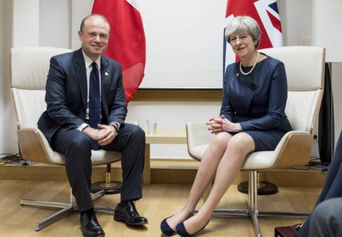 Maltese Prime Minster Joseph Muscat and British Prime Minister Theresay May