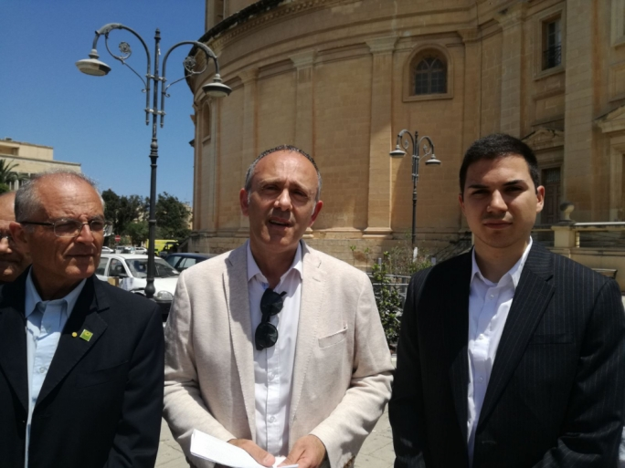 Alternattiva Demokratika address a press conference in front of the Mosta Rotunda