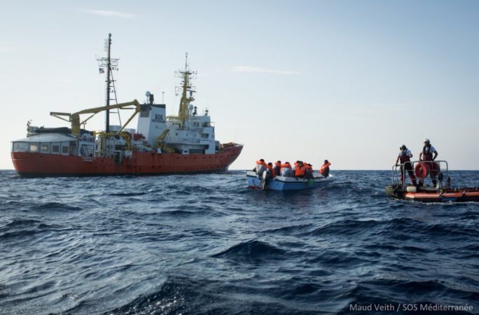 11 migrants were rescued from a small boat by the MV Aquarius (Photo: Maud Veith/SOS Mediterranee)