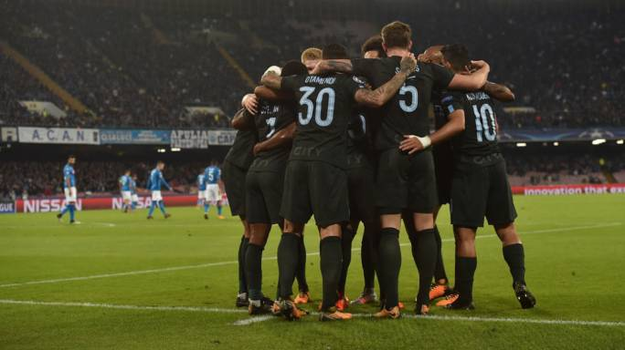 Manchester City's players celebrating