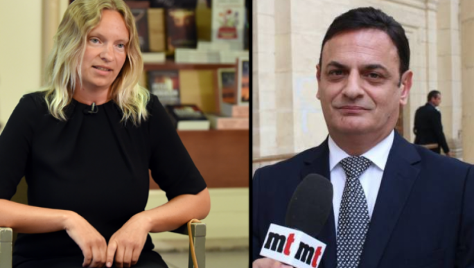 Former Pilatus Bank employee Maria Efimova and PN MEP David Casa