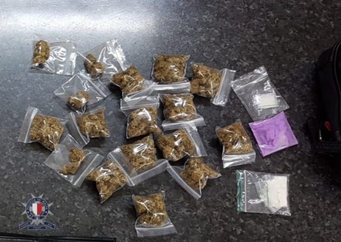 Suspected heroin, cannabis and ecstasy in the man's vehicle