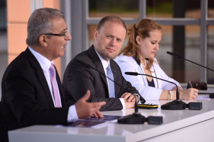From left: Education Minister Evarist Bartolo, Prime Minister Joseph Muscat and PL candidate Nikita Zammit Alamango (Photo: James Bianchi/MediaToday)