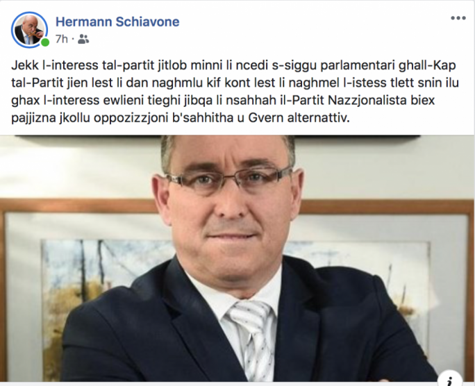 Hermann Schiavone has publicly offered his parliamentary seat to Bernard Grech but this won't be necessary since another MP has pledged to resign if Grech is elected leader