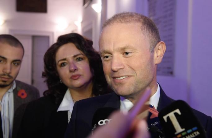 Joseph Muscat took questions about 17 Black on Friday night after attending a public consultation on European affairs