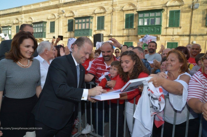 PL leader Joseph Muscat welcomed by party faithful in Gozo