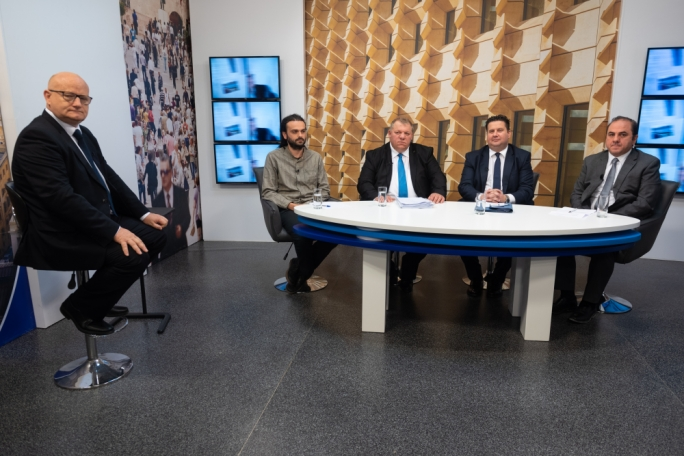 From left: show host Saviour Balzan, Moviment Graffitti activist Andre Callus, Opposition spokesperson Toni Bezzina, Justice Minister Edward Zammit Lewis, and Malta Developers General Secretary Michael Stivala