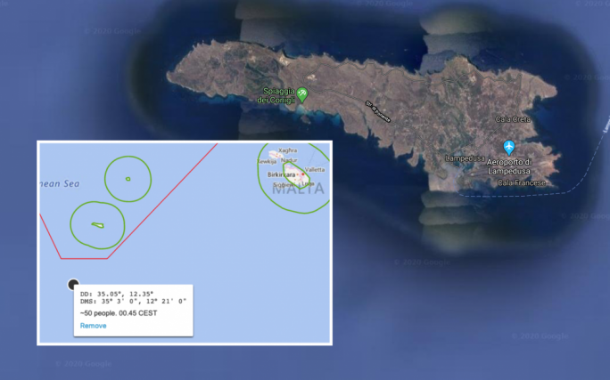 The island of Lampedusa has seen several autonomous landings by migrants. Inset shows the location (in black) of the latest migrant rescue in Maltese SAR, close to Lampedusa.