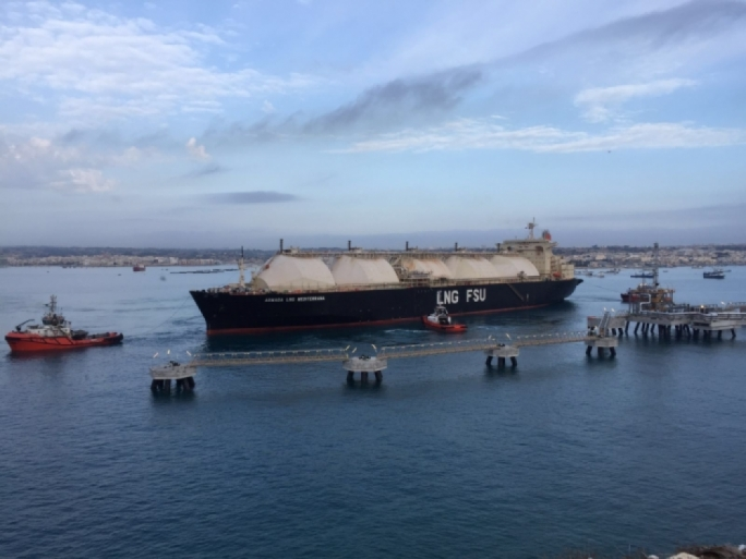 The Armada LNG Mediterrana in Marsaxlokk Bay