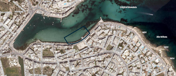 The site for the proposed 6,075 sq.m waterpolo pitch in Marsaskala