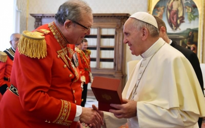 Grand Master Matthew Festing during an audience with Pope Francis back in 2016