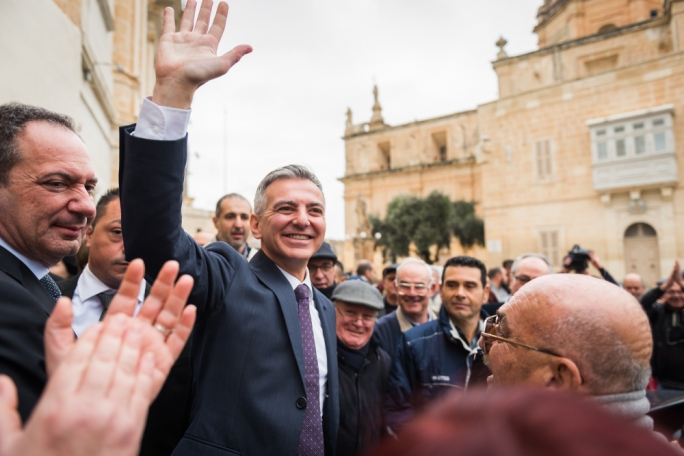 Former PN leader Simon Busuttil at an electoral rally in Mqabba in 2017
