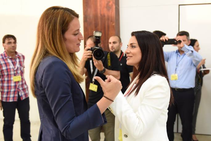 Roberta Metsola (left) and Miriam Dalli at the counting hall following the 2014 European Parliament elections. Photo: Ray Attard