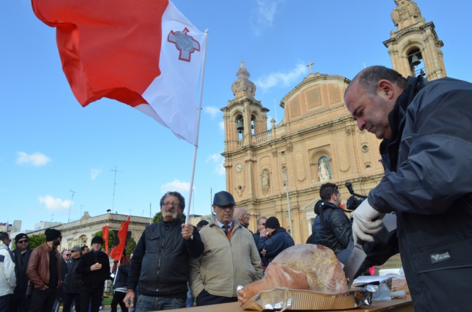 The far-right Ghaqda Patrijotti Maltin in a protest in Msida protesting against its temporary use for Muslim prayers