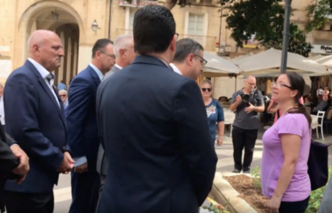 Adrian Delia was confronted by Helene Asciak, sister of murdered journalist Daphne Caruana Galizia