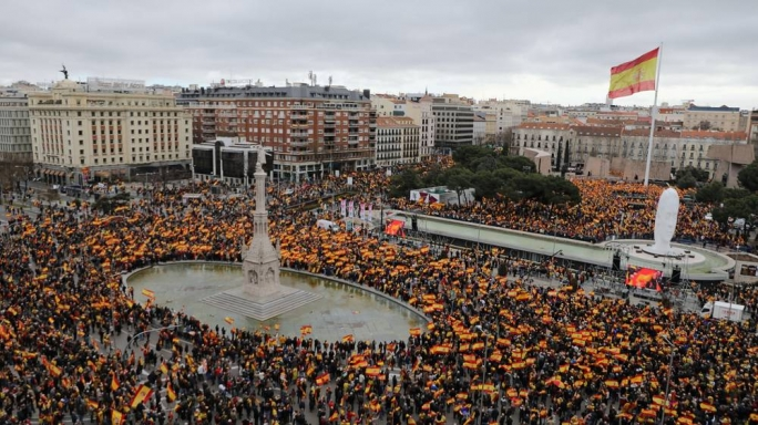 Protesters filled the Spanish capital's Colon Square and nearby streets, many of them chanting