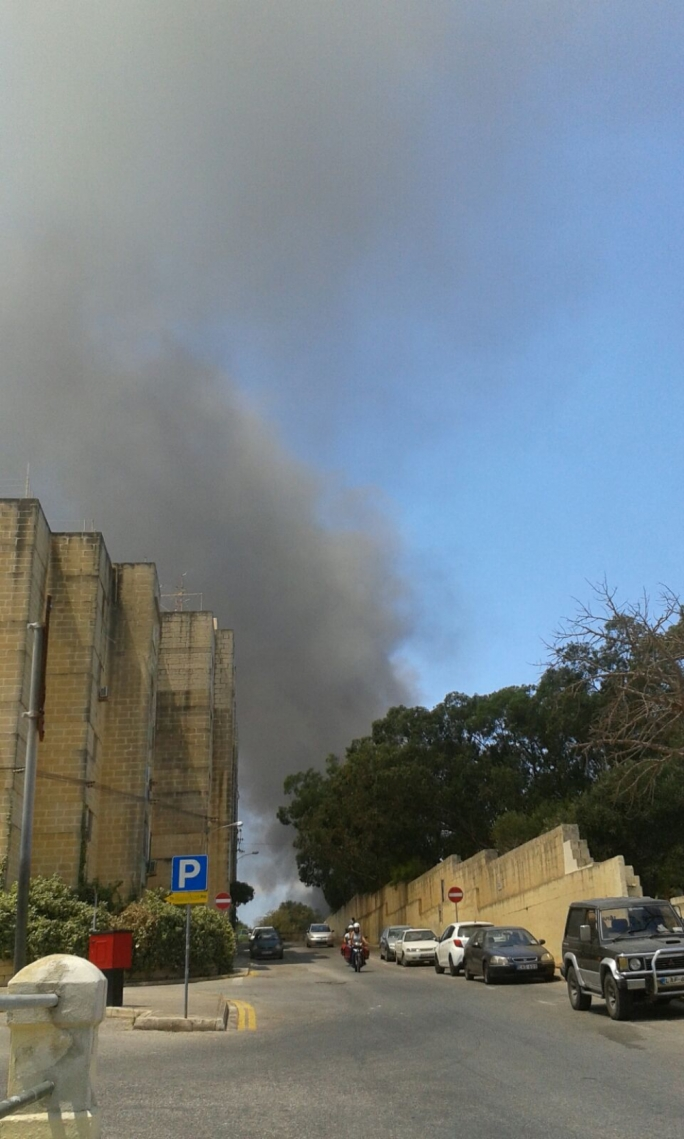 Thick, black plumes of smoke were observed from various locations round Malta