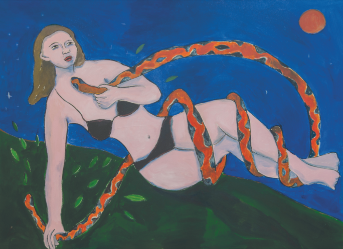 'Woman with a Snake' by Gabriel Buttigieg (110x150cm, acrylic on canvas, 2018)