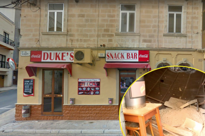 Msida snack bar's ceiling partially collapses