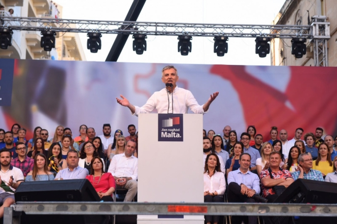 PN leader Simon Busuttil addresses a mass meeting in Sliema. Photo: James Bianchi