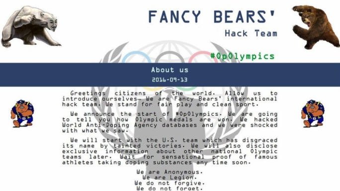 Caption: The home page on the Fancy Bears' website includes a welcome message: Greetings citizens of the world. We are Fancy Bears' international hack team. We are Anonymous. We are Legion. We do not forgive. We do not forget. Expect us.