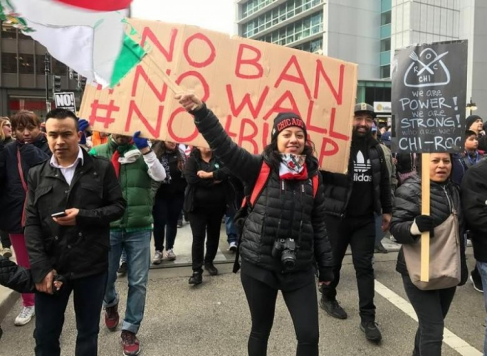 Demonstrators march during the ''Day Without Immigrants'' protest in Chicago, Illinois, February 16, 2017