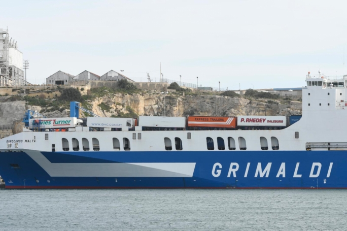 Eurocargo Malta is operated by Grimaldi Lines. (Photo: James Bianchi/MediaToday)