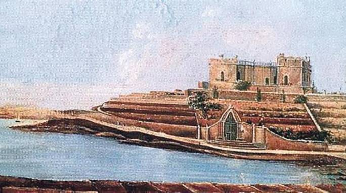 A 19th century painting of Balluta Bay, dominated by Villa St Ignatius (or 'Bel-Vedere').