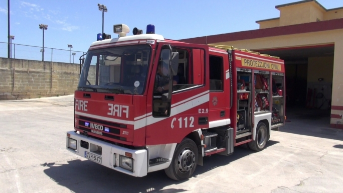 A cabin cruiser caught fire on Tuesday at the Manoel Island shipyard