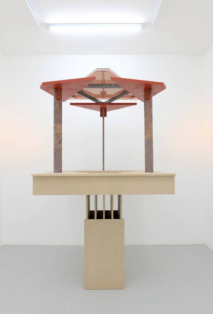Gazebo (monument for the public-private space), 2018, marble, timber, box steel, acrylic sheet, paint, chipboard and micro Led spots by Tom Van Malderen. Courtesy of the artist and Malta Contemporary Art