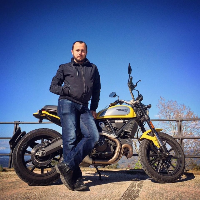 Mark Bishop in Barcelona with another bike, a Scrambler Ducati