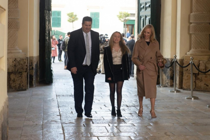 Edward Zammit Lewis walking into the Palace in Valletta on Wednesday