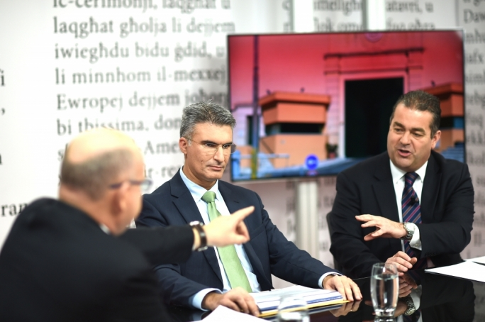 Home affairs minister Carmelo Abela and PN deputy leader Beppe Fenech Adami debate on Reporter Photos:Ray Attard