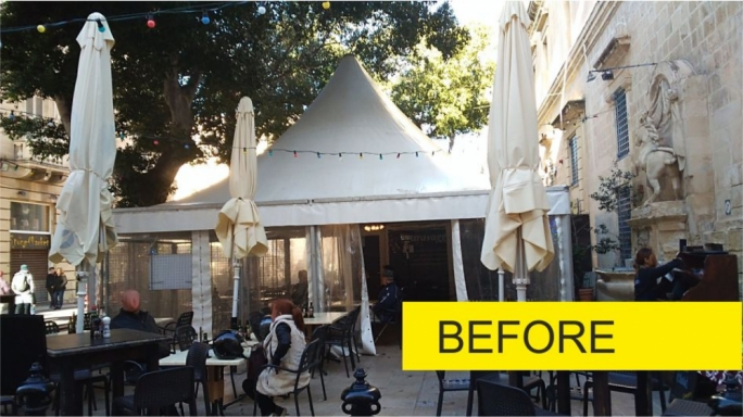 Before and After pictures of the unsightly tents in the square sent by the Planning Authority