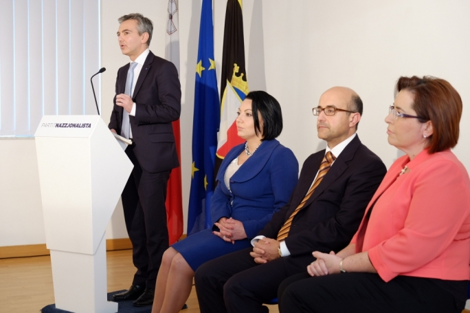 Opposition leader Simon Busuttil with Marthese Portelli, Jason Azzopardi and Claudette Buttigieg. Photo: Chris Mangion