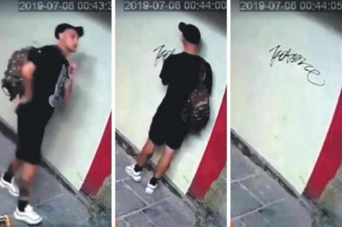 The Italian man was caught on CCTV spraying the word 'Kotone' on various walls in the capital