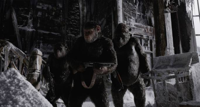 Hail Caesar!: The chimpanzee with a shotgun, together with his primate company, ready to War for the Planet of the Apes