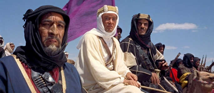 Lawrence of Arabia: Peter O'Toole as T.E. Lawrence (centre), Anthony Quinn as Auda abu Tayi (left) and Omar Sharif as Sherif Ali