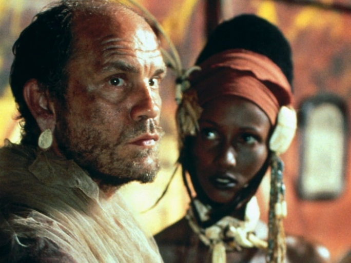John Malkovich and Iman in a movie adaptation of Conrad's Heart of Darkness