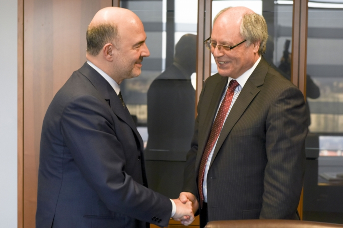 EU Commissioner Pierre Moscovici (left) and finance minister Edward Scicluna
