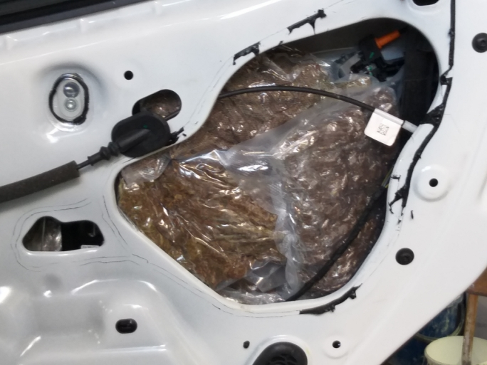 A fibre optic camera inserted into the car's door panels revealed the hidden cannabis