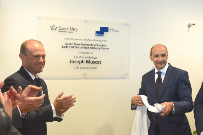 Former Prime Minister Joseph Muscat (left) and Health Minister Chris Fearne at the official opening of the Barts anatomy centre in December 2018