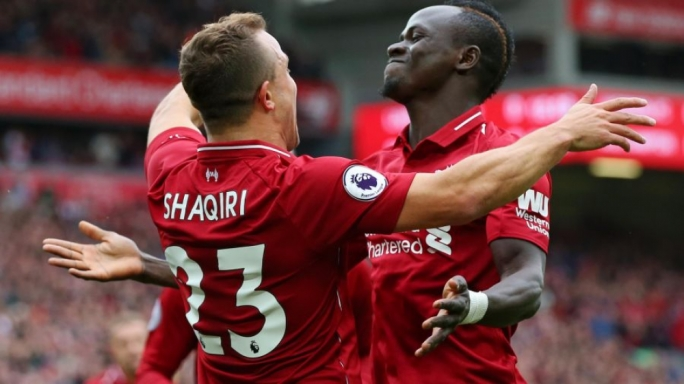 xherdan Shaqiri of Liverpool celebrating together with Sadio Mane