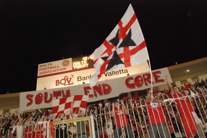 The South End Core supporting Malta during a sporting event