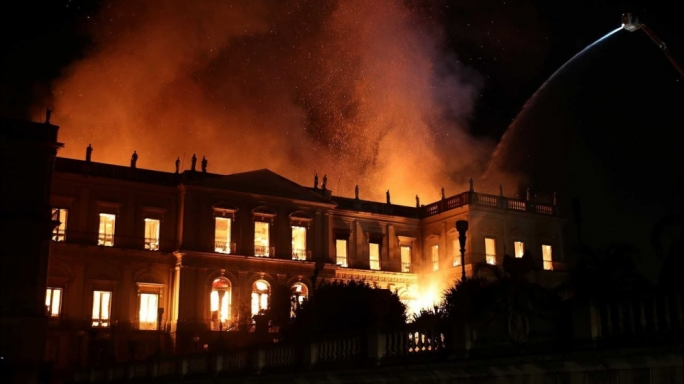 Firefighters battled the raging fire which engulfed the museum on Sunday