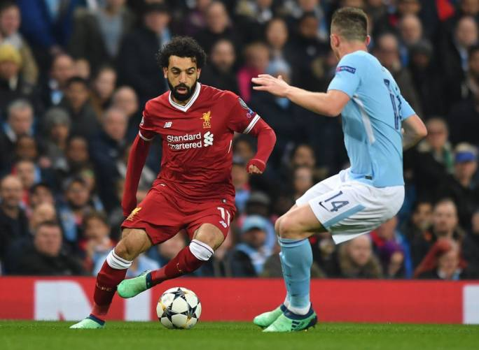 Mohamed Salah of Liverpool in action