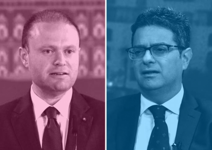 Prime Minister Joseph Muscat (left) and Opposition leader Adrian Delia