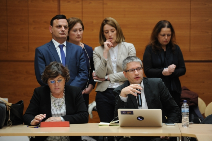 David Casa (standing, left) and Roberta Metsola (standing, third from left) have differing opinions on the role of TAX3 from MEPs like Sven Giegold (seated, right)