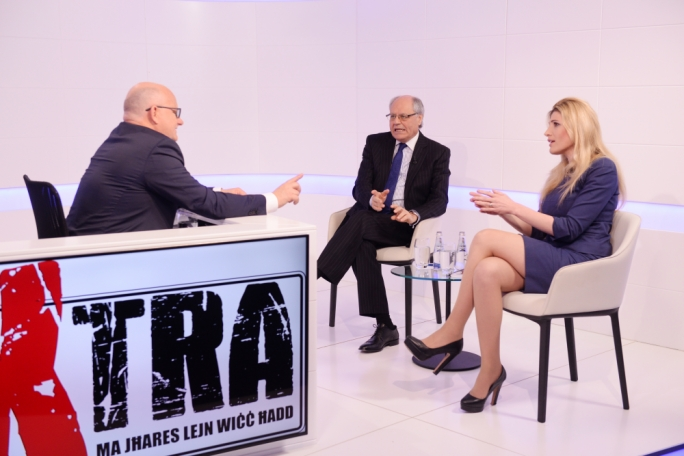 Edward Scicluna and Kristy Debono were the guests on tonight's edition of Xtra. Photo: James Bianchi